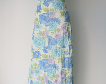 Vintage Floral and Silver Lame Maxi Dress by George Gerring