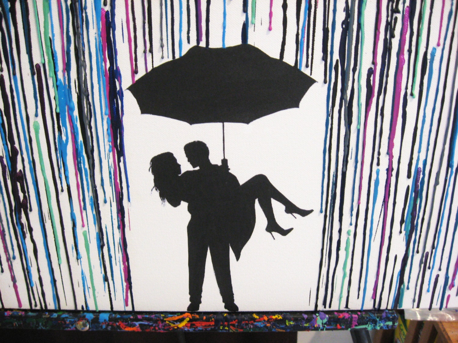 Viewing Gallery For - Couple Under Umbrella SilhouetteCouple Silhouette Umbrella Crayon Art