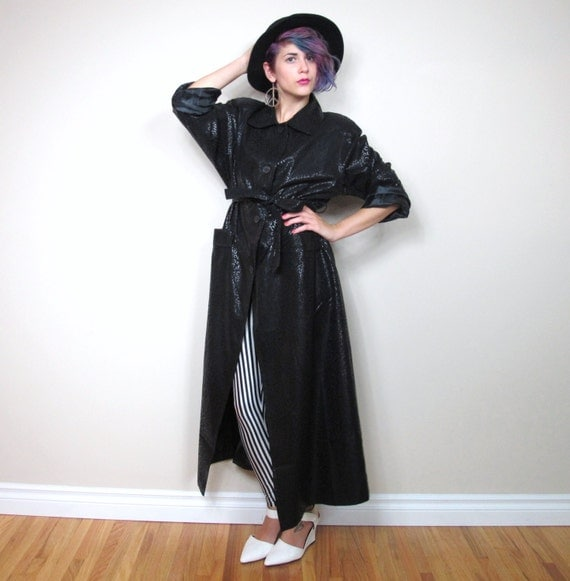 SALE 90s Black Leopard Print Trench Coat Belted Outerwear (M/L/XL)