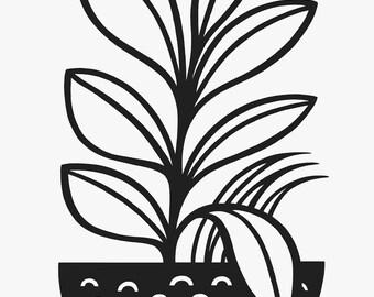 A3 Houseplant Risograph Print