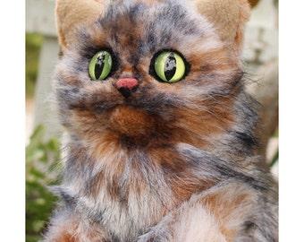 Cat Portrait Plush - handmade life-size toy cat