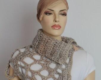 Beige Gray Melange Chunky Crochet Cowl Scarf Capelet Neck Warmer
