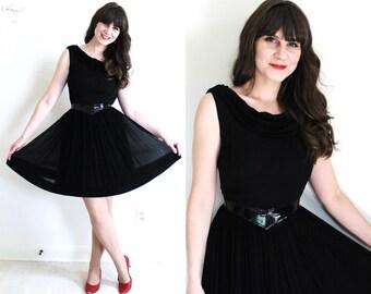 1950s Dress / 50s Dress / 50s 60s Black Chiffon Cocktail Party Dress