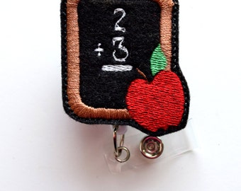Chalkboard with Apple - Felt Badge - Retractable Badge Reel - Name Badge Holder - Cute Badge Reel - School Badge Holder - Teacher Badge
