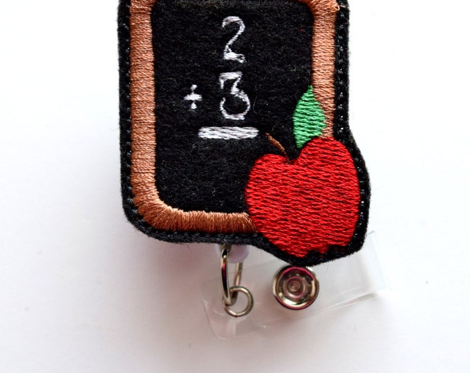 Chalkboard with Apple - Felt Badge - Retractable Badge Reel - Name Badge Holder - Cute Badge Reel - School Badge Holder - Teacher Badge