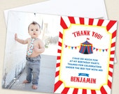 Carnival or Circus Party Photo Thank You Cards - Professionally printed *or* DIY printable