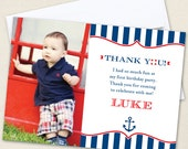 Nautical Party Photo Thank You Cards - Professionally printed *or* DIY printable