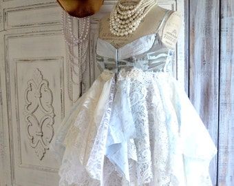 Bohemian wedding dress, boho dresses, Romantic lagenlook sundress, shabby lace slip dress, Fairy clothing, Pixie dress, True rebel clothing