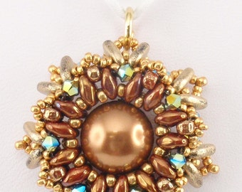 Beading Tutorial for Celestial Radiance Pendant, jewelry pattern, beadweaving tutorials, instant download, PDF