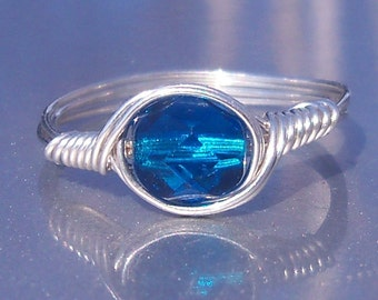 Deep Blue Sea Czech Glass Argentium Sterling Silver Wire Wrapped Ring