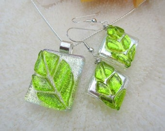 Green and silver dichroic fused glass Leaf Earrings