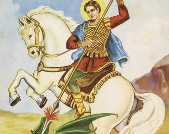 St George and the Dragon Medieval Middle Ages Patron Saint of England Christian Catholic Art from Vintage Religious Image Photographic Print