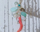 Vintage Coral Branch Necklace  + Blue Gemstone Variety Waterfall   Mermaid Jewelry   Ocean Inspired   Blue Gemstones   Cascading Necklace