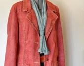 Red XL Denim Jacket - Red Orange Hand Dyed Upcycled Paris Blues Denim Blazer Jacket - Adult Women's Size Extra Large (46 chest)