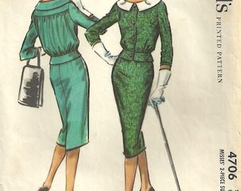 McCalls 4706 Vintage 50s Sewing Pattern // Suit Skirt Jacket // Size 14 Bust 34