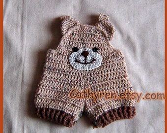 Baby Teddy Bear Shortall, Overall Shorties, Romper, Buttons at Legs for Easy Change - INSTANT DOWNLOAD Crochet PATTERN