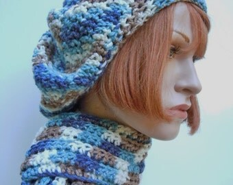 Hat and Scarf Set, Blues and Taupe Brown Slouch Hat and Scarf, Crocheted Hat and Scarf, Womens Hat and Scarf