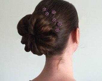 Purple Pearl Florettes - Set of 6 Bobby Pins