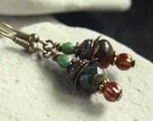 Red/Green Czech Glass Bead Earrings - A.135