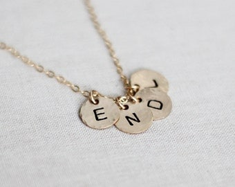 Personalized Family of Four Initial Necklace, 4 Letter Initial Discs, 14k Gold Filled, Hand Stamped, Hammered