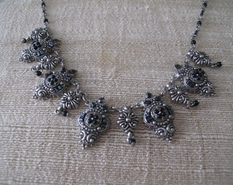 Vintage Silver Tone Filigree Necklace with Black Marcasite Stones Estate Jewelry