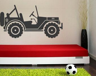 Jeep Decal, Jeep Wall Art, Nursery Wall Decal, Safari Wall Decal, Safari Nursery, Childrens Wall Art, Dorm Decor, Automotive Decor