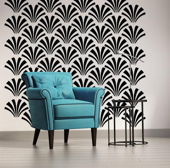 Retro wall decor geometric wall decal art deco wall decal for Art deco decoration