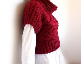 Hand Knit Red sweater Knit  Women's Vest Women's knitwear Turtleneck Pullover Cable knit sweater, Many colors available