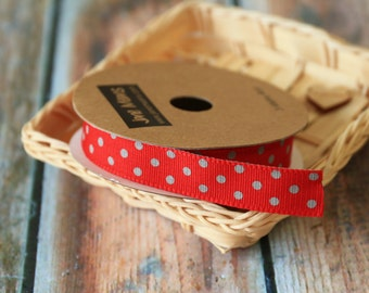 RED with GREY DOTS fabric ribbon reel 3m spool