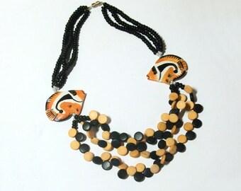VINTAGE Tropical Fish Wood Bead Necklace In Orange Black & Natural 1980s