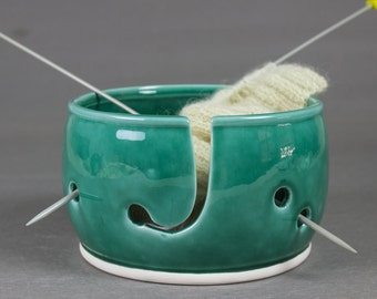 Ceramic Yarn Bowl Emerald Green, Wheel Thrown knitting bowl, 3 EXTRA Holes for multiple balls of yarn, knitter gift
