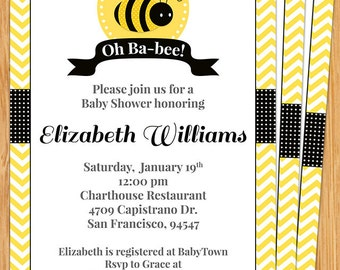 Oh Baby Bee Baby Shower Invitation