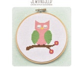 Pink Owl Cross Stitch Pattern Instant Download