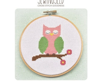 Pink Owl Cross Stitch Pattern Instant Download