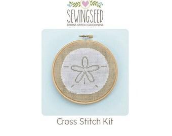 Sand Dollar Cross Stitch Kit, Beach Theme, Embroidery Kit, DIY Kit