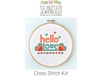Hello Love Cross Stitch Kit, Easy, DIY Kit, Embroidery Kit, DIY Engagement, Wedding Gift Idea