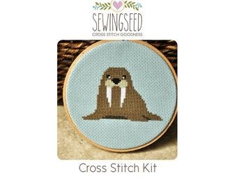 Walrus Cross Stitch Kit, DIY Kit, Embroidery Kit Perfect for a Beginner, Secret Santa Gift Idea