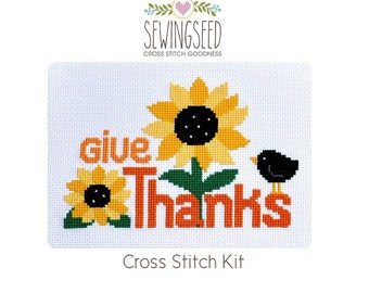 Give Thanks Cross Stitch Kit, Sunflowers, Happy Thanksgiving DIY, Hand Embroidery Kit
