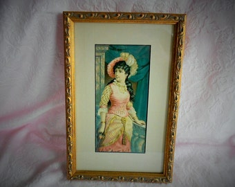 Vintage VICTORIAN LADY PICTURE Framed Print Girl Pinks Teal Blue Gold Frame Tan Beige Mat Hat Edwardian Dress Tassel Belt Hand Holding Rose