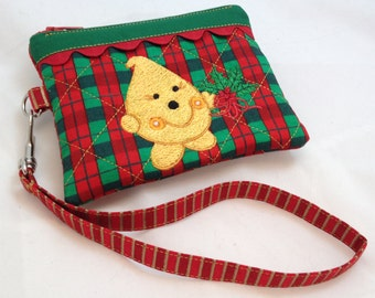 Christmas Parker Plaid Wristlet - Quilted Embroidered in Red Green and Yellow