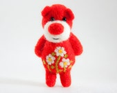 Bright red needle felted miniature pocket artist bear
