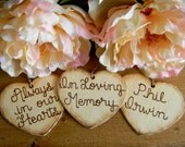 Add On Rustic Charm Large Wooden Hearts Wood Burned Engraved 4.50 Per Heart Always In Our Hearts In Loving Memory Wedding Bouquet Charm