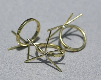 Brass Handmade Claw Ring Setting For Natural Stones or Whatever - Size 6