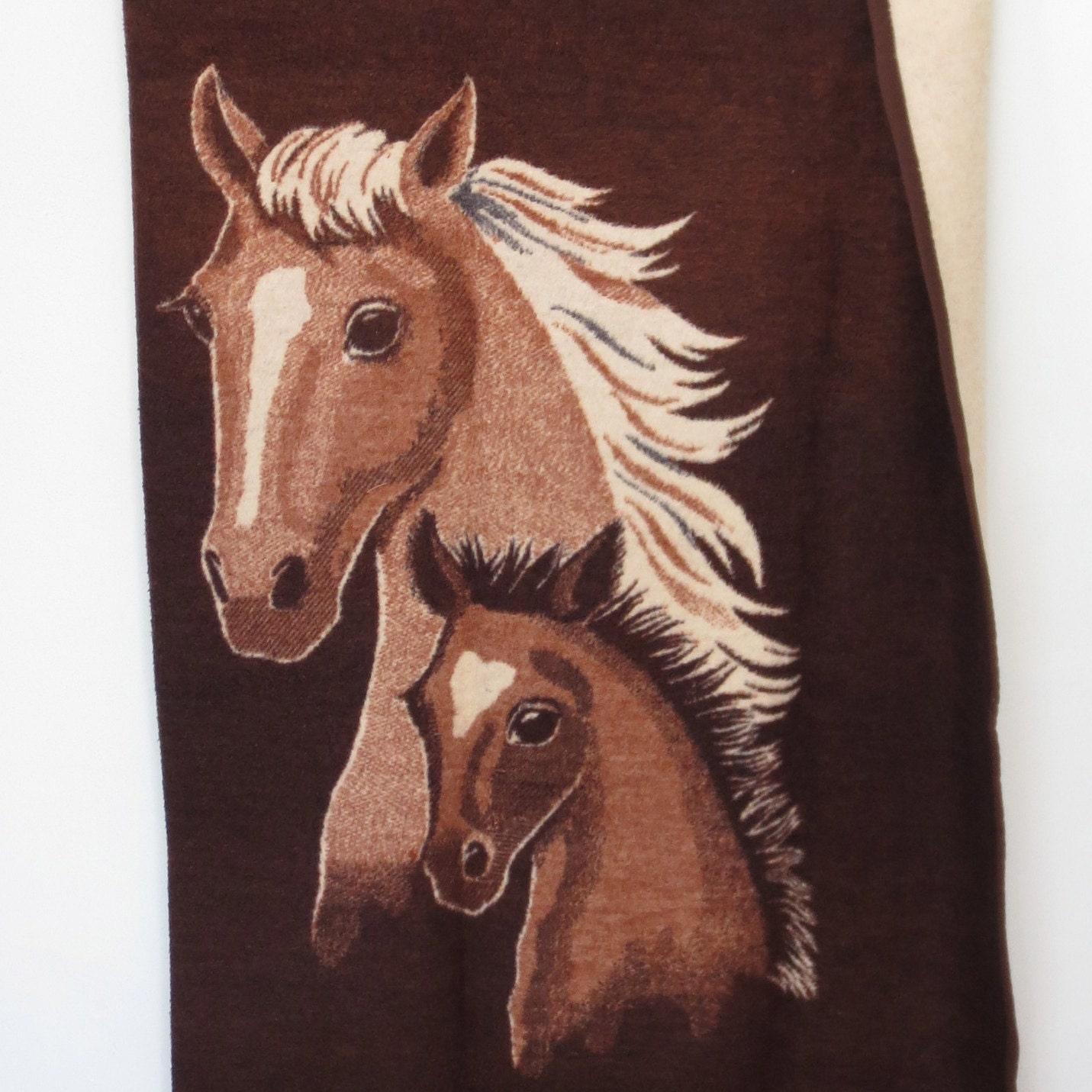 Vintage Horse Blanket Fleece Biederlack Blanket 70s Twin