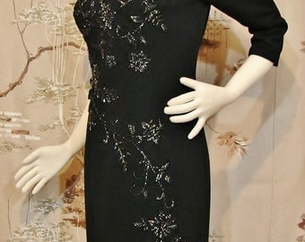 DRESS - BANFF Ltd. - Hong Kong - Hand Beaded Wool Dinner / Evening
