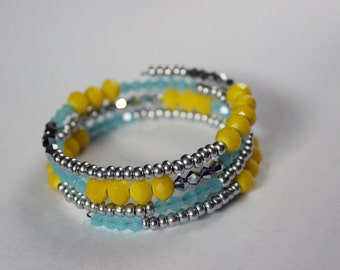 Yellow, blue, silver memory wire wrap stacking bracelet - bicone and crystal faceted beads - sparkly