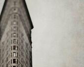New York Art- Flatiron Building- Architecture Print- Brown Beige Wall Art- Neutral Rustic Office Decor
