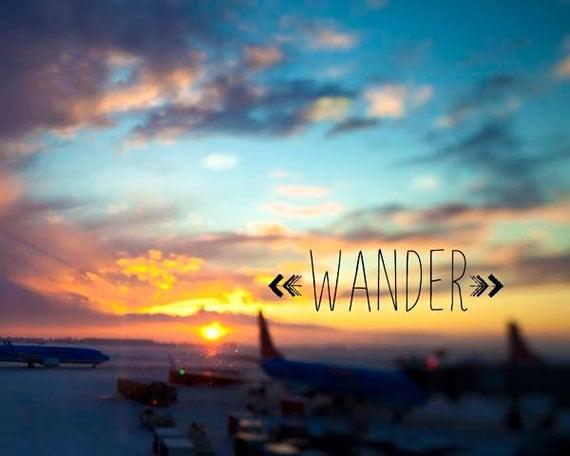 Wander Typography Print Inspirational wall decor, blue orange yellow, arrow, motivational art
