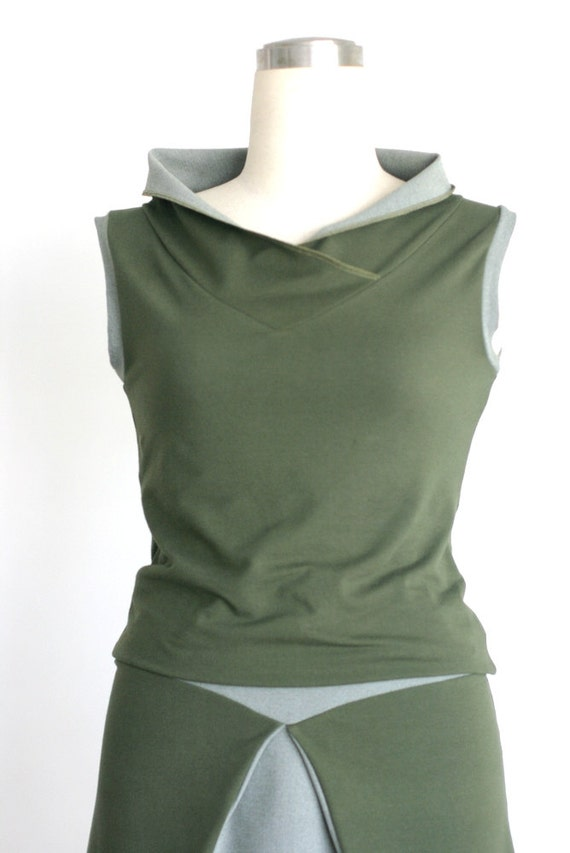 Women'S Olive Green Top Blouse 46