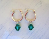 SALE 10% OFF Sterling Silver Hoops and Dark Emerald Green Swarovski Birthstone/Personalized Girls Earrings
